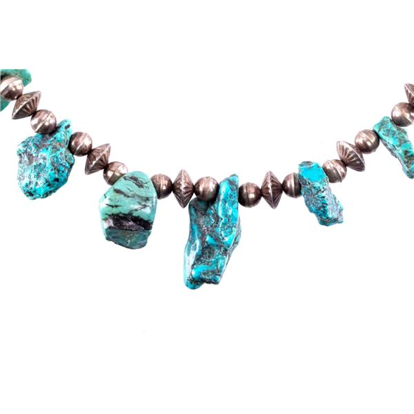 Navajo Silver Bead & Turquoise Nugget Necklace
