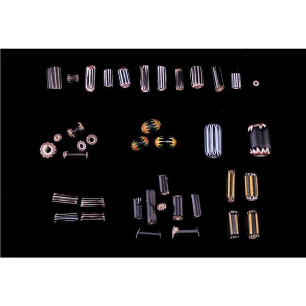 Rare Black Chevron & Yellow Jacket Trade Beads