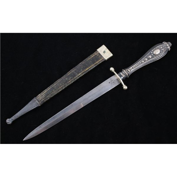 19th Century Embossed Silver Handle Knife & Sheath