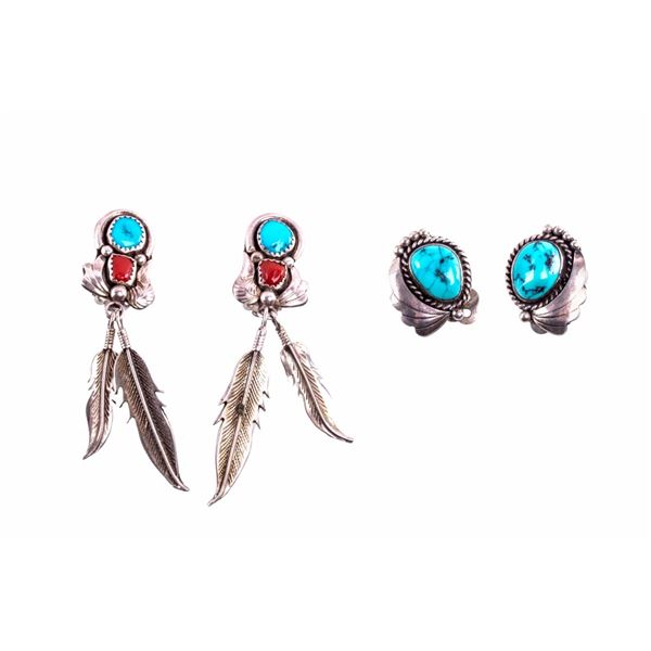 Navajo Sterling Silver & Turquoise Earring Pair