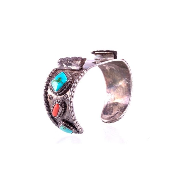 Navajo Silver Turquoise & Coral Bracelet Watchband