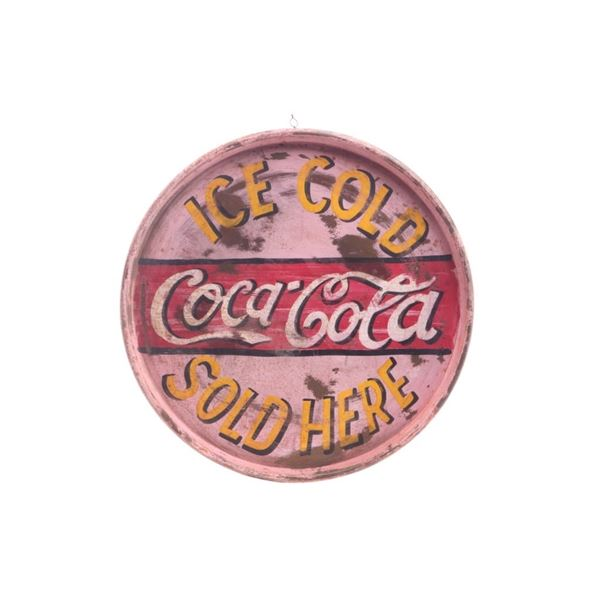 Coca Cola Hand Painted 50 Gallon Top Sign