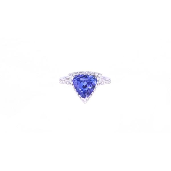 Trillion 3.01ct Tanzanite Diamond & 18k Gold Ring