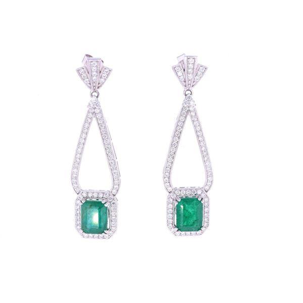 Luxury 4.38ct Emerald Diamond & Platinum Earrings