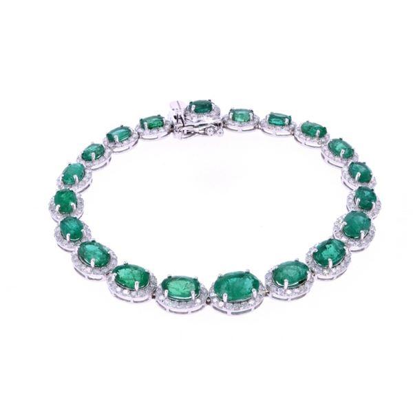 Luxury 11.60ct Emerald Diamond & 14k Gold Bracelet