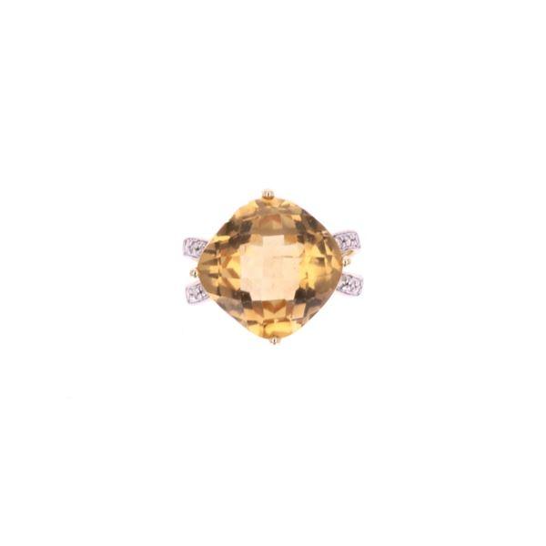 Opulent Citrine & Diamond 14k Yellow Gold Ring