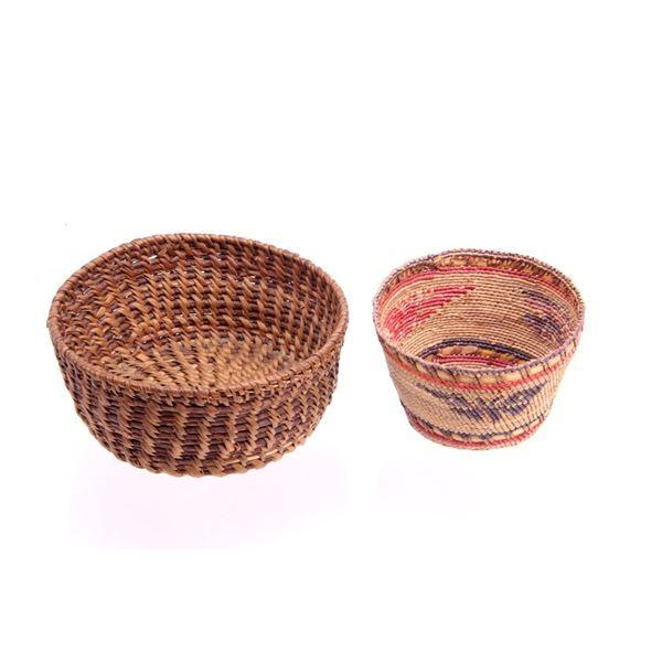 Paiute Indian Pine Needle & Wicker Basket Pair