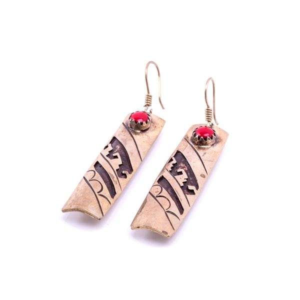 Armand American Horse Silver & Coral Earrings
