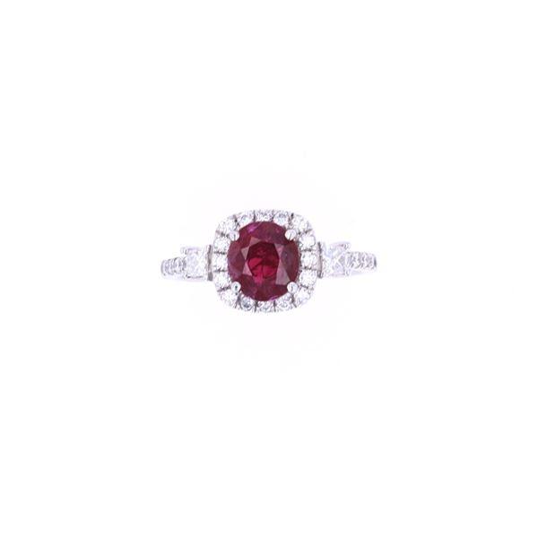 GIA Certified Unheated Ruby Diamond Platinum Ring