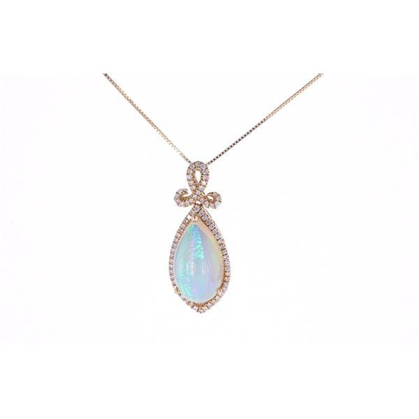 Ethiopian Opal Diamond & 14k Yellow Gold Necklace