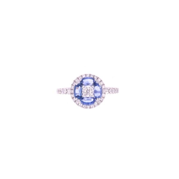 Corn Blue Sapphire Diamond & 14k White Gold Ring