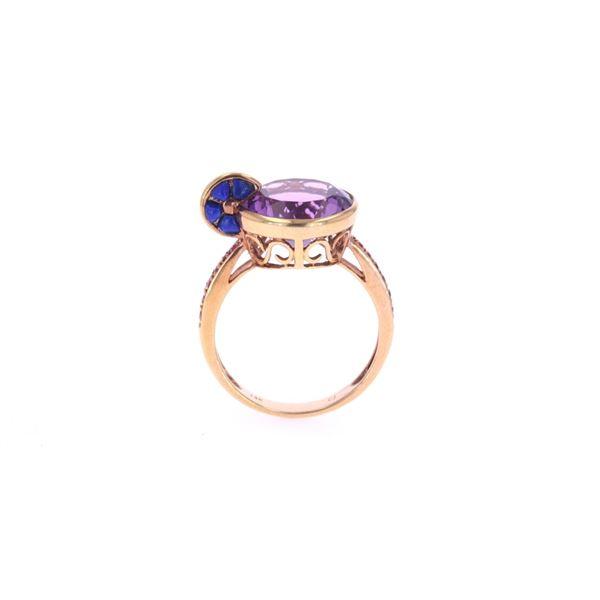 Amethyst Topaz & Lapis Lazuli 14k Gold Ring