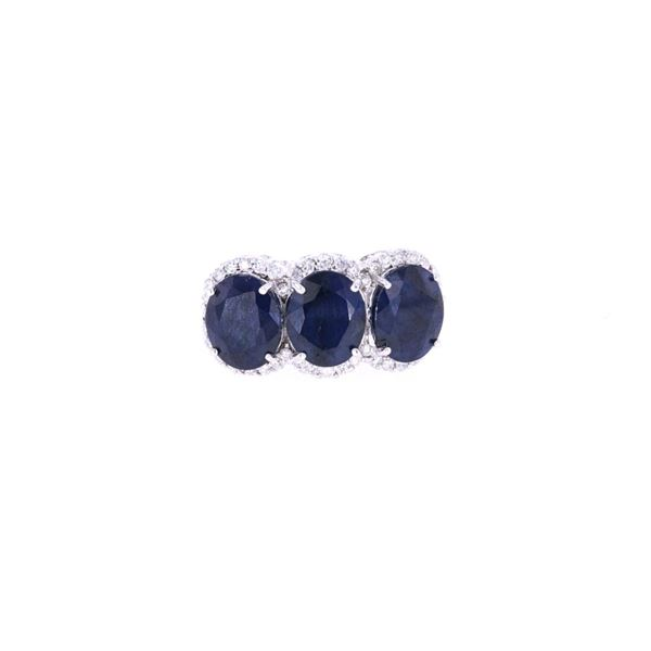 Triple Set Blue Sapphire Diamond & 14k Gold Ring
