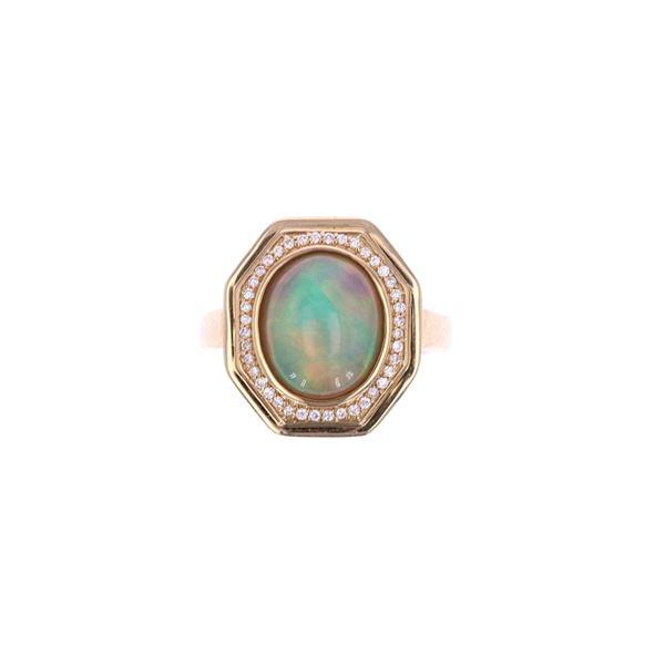 Ethiopian Opal Diamond & 14k Yellow Gold Ring