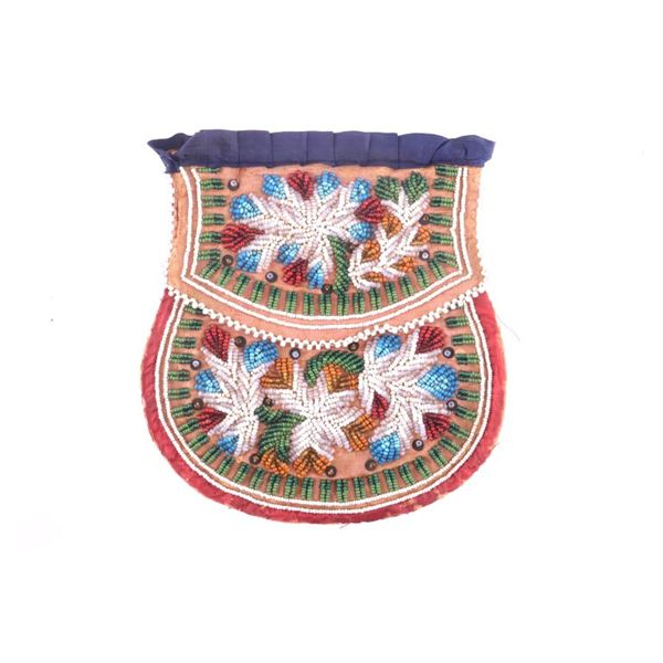 Iroquois Beaded Flat Pouch New York State 19th C.