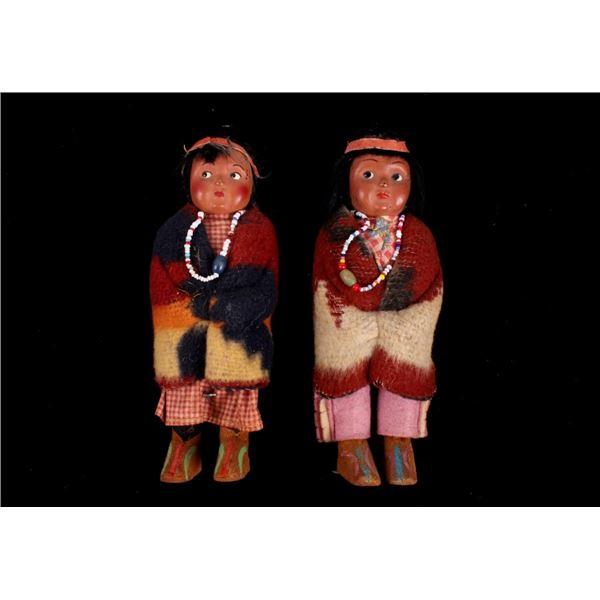 Bully Good Indian Twins Skookum Dolls c. 1930's