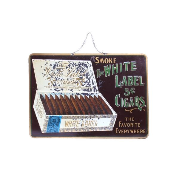 1920's The White Label Cigars Embossed Tin Sign