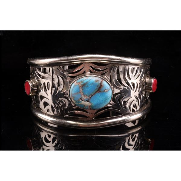 Armand American Horse Turquoise & Coral Cuff