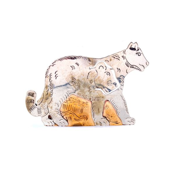 Armand American Horse Silver Mountain Lion Brooch