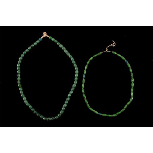 Watermelon Chevron 1800's Trade Bead Necklace