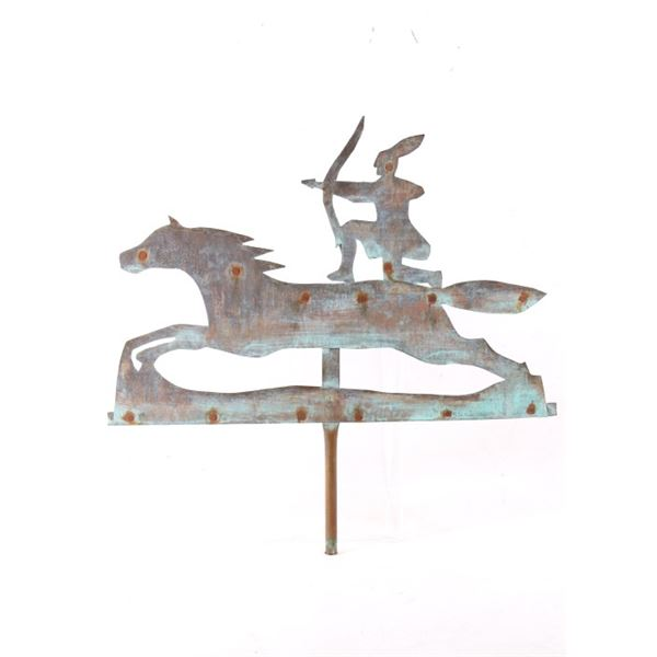 19th C. Copper Indian & Horse Weather Vane