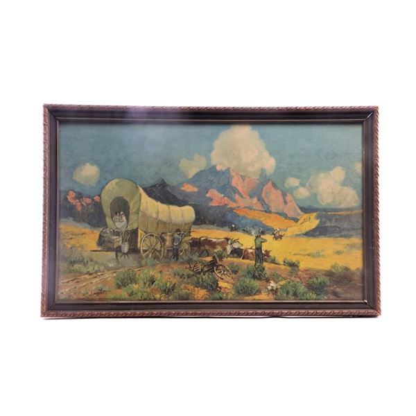 Framed Covered Wagon Lithograph 1928