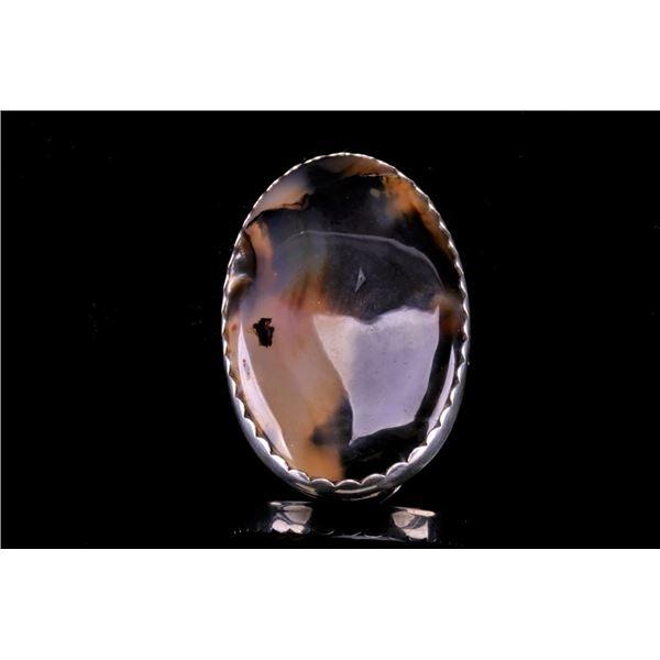 Navajo Billy Slim Sterling Silver & Agate Ring