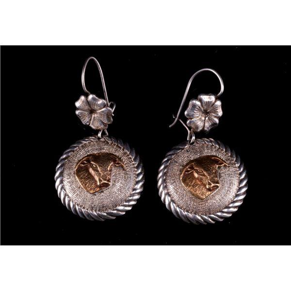 Sterling Silver & Bronze Brahma Steer Earrings