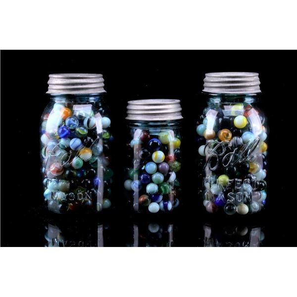 Variety Marbles in Ball Mason Jars