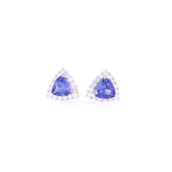 Trillion 2.91 ct Tanzanite Diamond & 18k Earrings