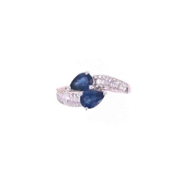 Freeform Blue Sapphire Diamond & 18k Gold Ring