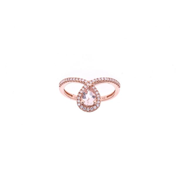 Ribbon Morganite Diamond & 14k Rose Gold Ring