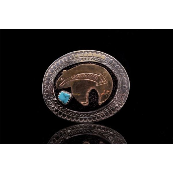 Armand American Horse Brass Turquoise Scarf Slide