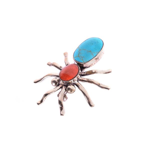 Armand American Horse Silver Turquoise & Coral Pin