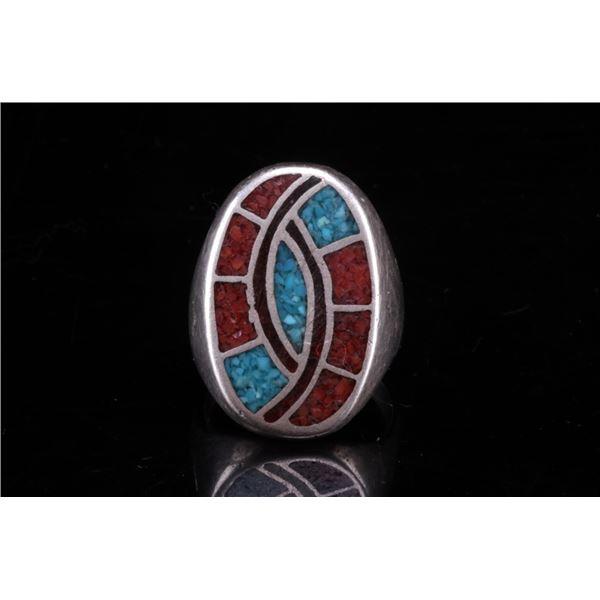 Zuni Chipped Multi Stone Inlay Hummingbird Ring