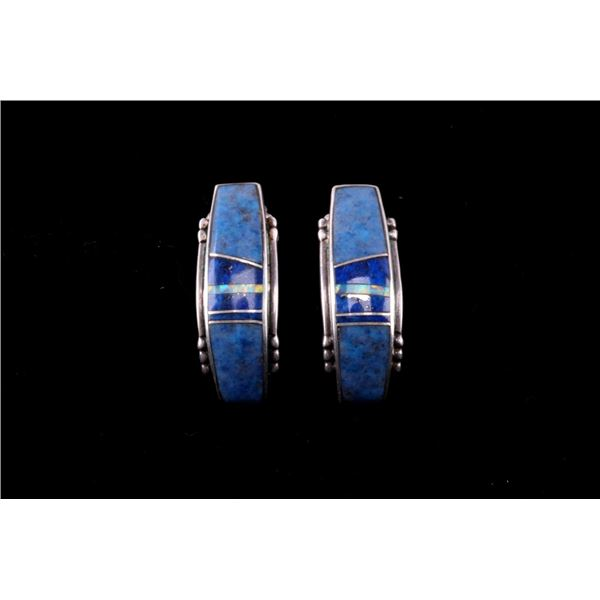 Navajo Sterling & Stormy Mountain Inlaid Earrings