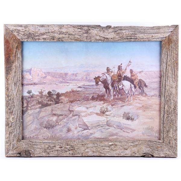 """Wagons Westward"" Charlie Russell Framed Print"