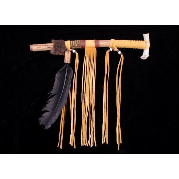 Native American Beaded Fur Bone Talking Stick