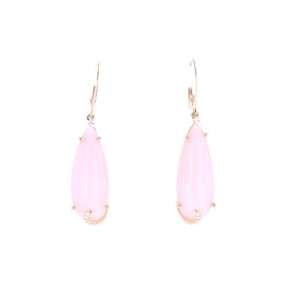 Pink Opal Diamond & 14k Yellow Gold Earrings