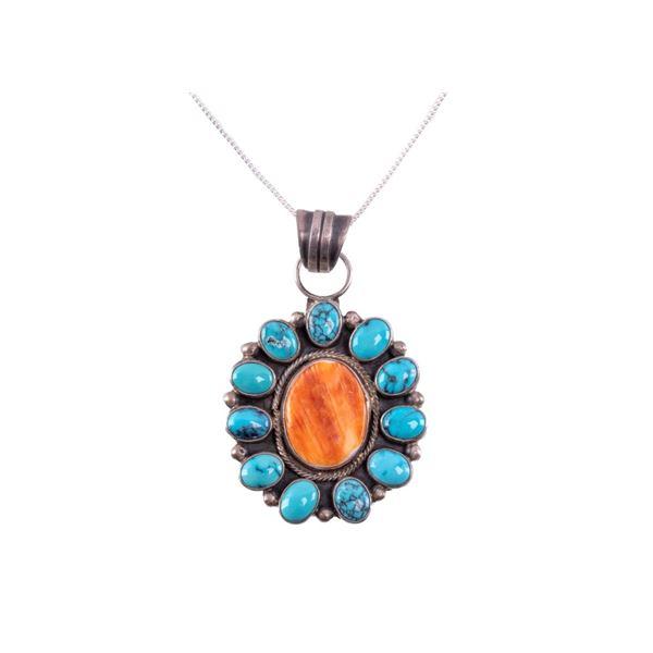 Navajo Richard Begay Silver Multi Stone Necklace