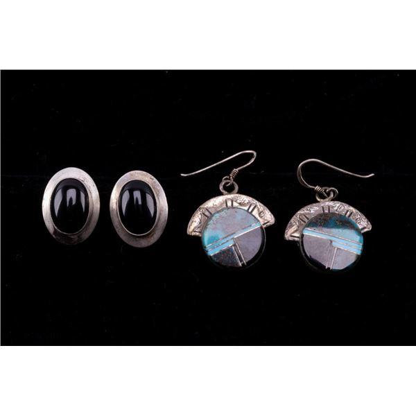 Navajo Silver Black Onyx & Turquoise Earrings