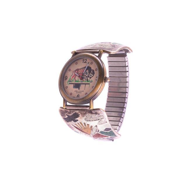 Navajo R Jones Sterling Silver Dejuno Quartz Watch