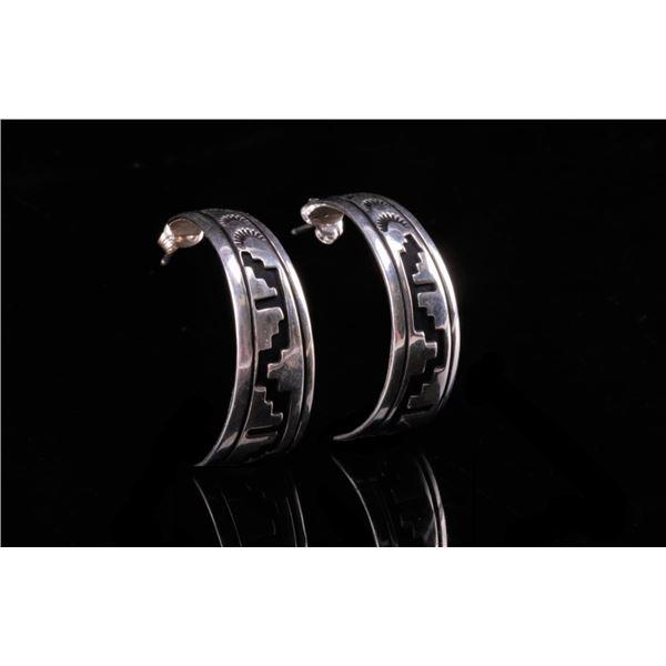 Navajo T&R Singer Hand Stamped Sterling Earrings