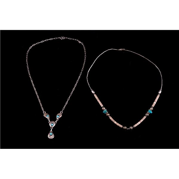 Navajo Sterling Silver & Turquoise Necklace Pair