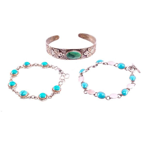 Collection of Navajo Silver & Turquoise Bracelet