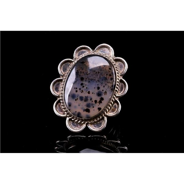 Navajo Sterling Montana Agate Floral Ring