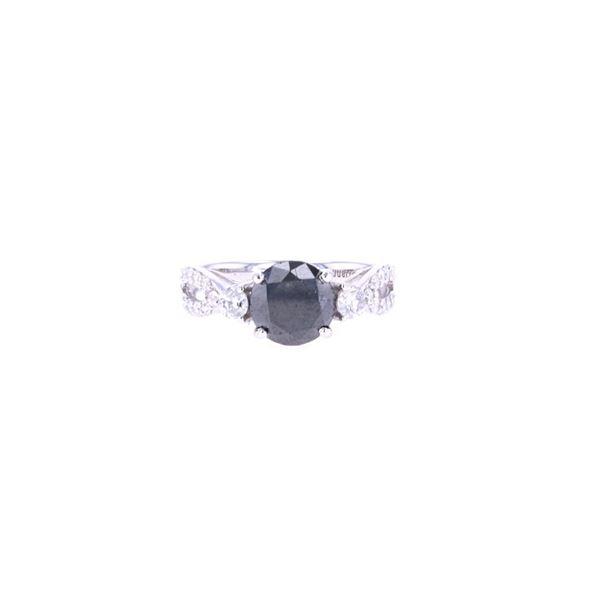Natural Black/ White Diamond & 14k Gold Ring