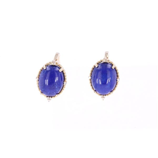 Lapis Lazuli Diamond & 14k Yellow Gold Earrings