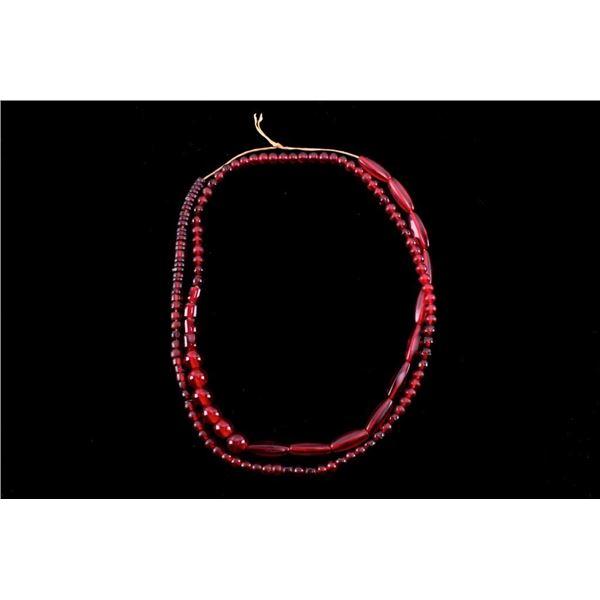 Sampler Necklace Of Dark Red Glass Beads