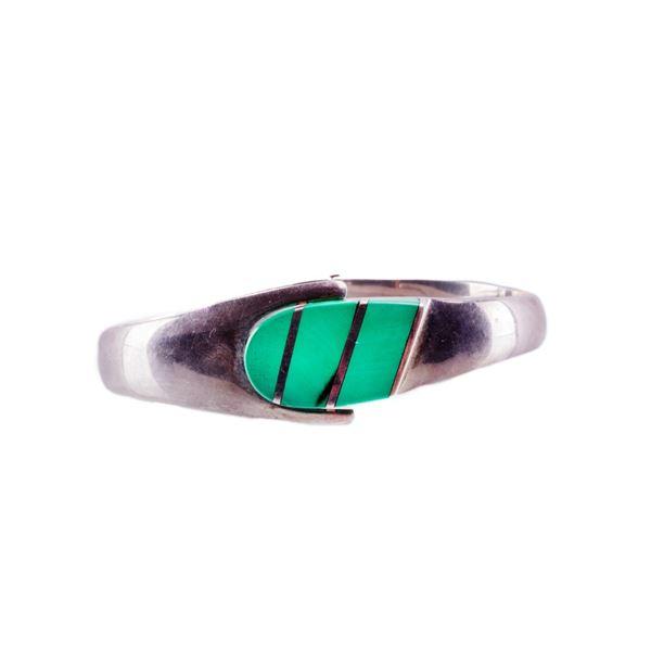 Taxco Mexico Sterling Silver & Aventurine Bracelet